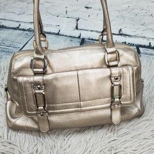 B Makovsky Gold Pebbled Leather Shoulder Bag Purse